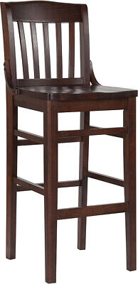 Walnut Finished School House Back Wooden Restaurant Bar Stool