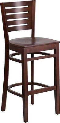 Slat Back Walnut Wood Restaurant Barstool - Commercial Quality Bar Stool