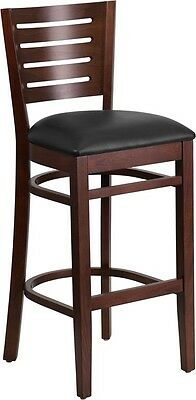 Slat Back Walnut Wood Restaurant Barstool With Black Vinyl Seat Cushions