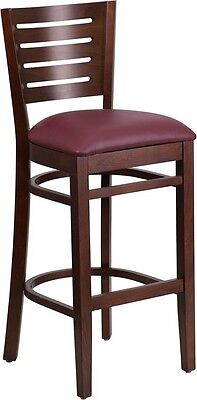 Slat Back Walnut Wood Restaurant Barstool With Burgundy Vinyl Seat