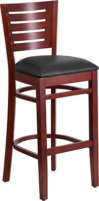 Slat Back Mahogany Wood Restaurant Barstool With Black Vinyl Seat