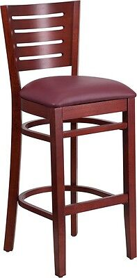 Slat Back Mahogany Wood Restaurant Barstool With Burgundy Vinyl Seat