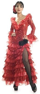 Red Senorita Spanish Lady Salsa Dancer Fancy Dress Up Halloween Adult Costume