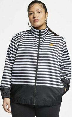 Nike Sportswear Womens Woven Athletic Jacket Vile White Stripe Ref Plus Size 3X