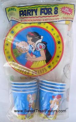 SNOW WHITE Dwarfs Princess Party PLATES CUPS NAPKINS Supplies Favor x8 - Princess Plates