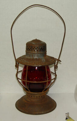 EJ & E Ry Elgin Joliet & Eastern Railway Railroad Lantern & Tall Fat Red Globe