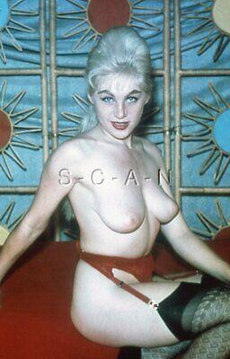 Org Vintage Nude 1950s-60s 35mm Slide / Negative- Well Endowed Blond- Garter #2