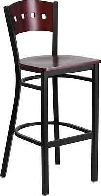 Black Decorative 4 Square Back Metal Restaurant Barstool - Mahogany Wood Back