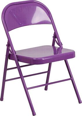 10 Pack Impulsive Purple Metal Folding Chair With Triple Braced Double-hinged