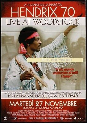 "Original JIMI HENDRIX 70 LIVE AT WOODSTOCK Italian Advance 39"" X 55"""