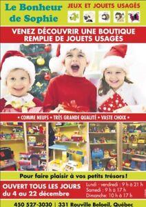 «OUVERT AU PUBLIC TOUS LES JOURS»jouets usagés