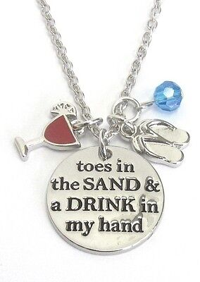 Toes In The Sand Drink In My Hand Multi Charm Necklace Flip Flop Beach -