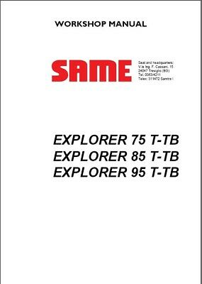 Same Explorer 75 T-tb 85 T-tb 95 T-tb Tractor Service Workshop Manual Cd