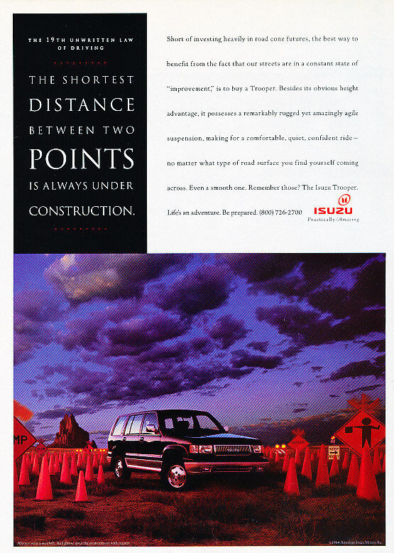 1994 Isuzu Trooper - Cones - Classic Vintage Advertisement Ad D80