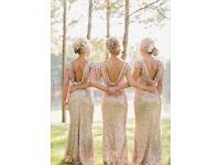 Gold sequin bridesmaid dresses x5