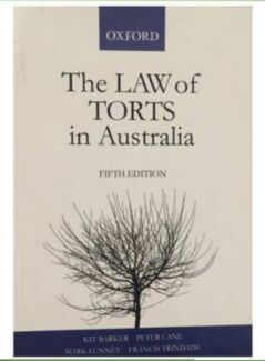 The Law of Torts in Australia PLUS BONUS TORT CASES SUMMARY BOOK Richmond Yarra Area Preview