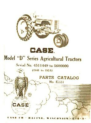 Case Model D Dc Dh Do Dv Tractor Parts Catalog Manual Serial 4511449-5600000