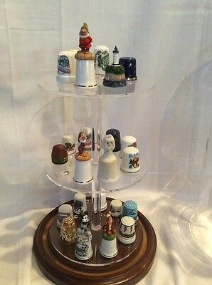 - 24Thimble Glass Dome for taller items  W/ Walnut Base(no thimbles) 5.5x13 #336tp