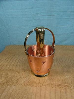 Eisbehälter Eiszange Edel Bar Drinks Eisfaß mit Henkel Kupfer Messing Stern o8c4