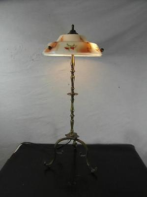 Stehlampe Standleuchte Messing Antik Stil Lampe Leuchte Design Dreifuß Unikat
