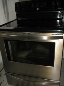 Kenmore stainless steel stove, ceramic top, self clean $380 Full