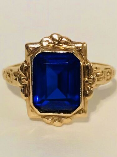 Antique Victorian 10k Yellow Gold Sapphire Blue Ring