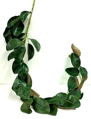 Magnolia Leaf Garland~PVC Artificial~Green, Brown~5 ft. Long