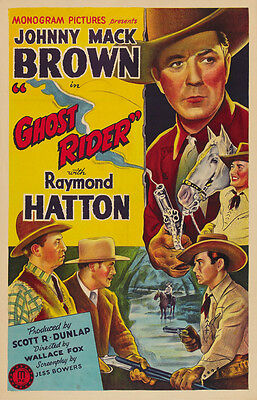 The Ghost Rider (1943) Johnny Mack Brown Cult Western Movie Poster 23x36 Inches
