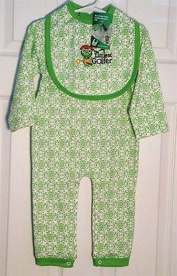 Baby Golf Golf Romper - Baby Golf-Theme Long-Sleeve Romper.  Matching Bib. Pink or Green