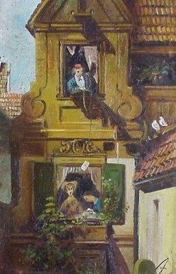 """Antik kl Ölgemälde um 1900 v """"A"""" Kopie von DER ABGEFANGENE LIEBESBRIEF /Spitzweg"""