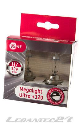 2er Set H7 12Volt 55Watt PX26d GE General Electric Megalight Ultra +120% 12V 55W