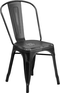 100 - RESTAURANT INDUSTRIAL TOLIX STYLE METAL DINING CHAIR