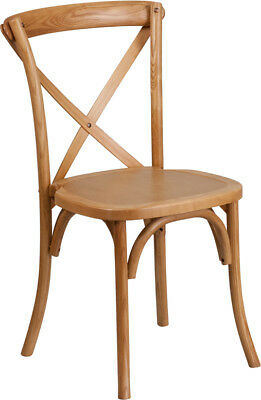 Bistro Style Cross Back Oak Wood Stackable Restaurant Chair