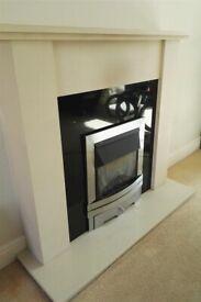 Modern Black Granite & Beige Stone Hearth Fireplace