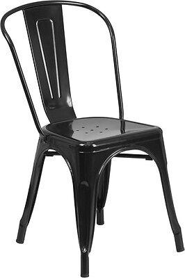 Black Metal Indoor-outdoor Stackable Chair Ch-31230-bk-gg - Set Of 4