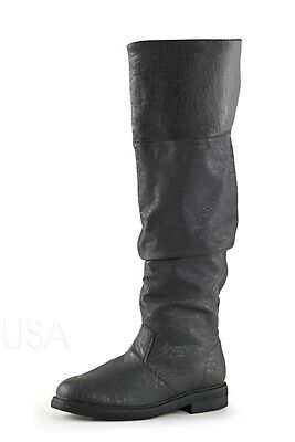 Black Mens John Snow Game of Thrones Medieval Long Boots Halloween Costume 10 11 - Halloween Dress Up Games