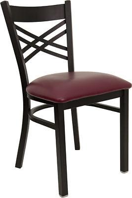 Metal X Back Restaurant Chair With Burgundy Vinyl Seat