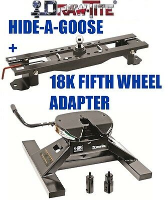 DRAWTITE UNDRBED GOOSENECK TRAILER HITCH & 18K FIFTH 5TH WHEEL ADAPTER DODGE RAM
