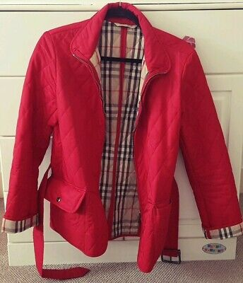 Authentic Burberry Quilted Red Ladies Jacket With Belt