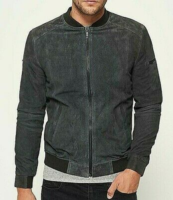 SUPERDRY RYAN SPORTS GREY PERFORATED LEATHER BOMBER JACKET XL RRP £345 NWOT NEW