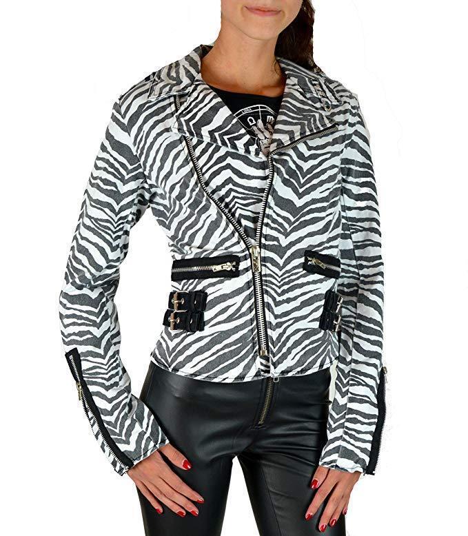 Tripp D-Ring Moto Zebra Punk Rockabilly Ska Gothic Biker Rocker Jacket BD3243P Clothing, Shoes & Accessories