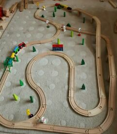 Large wooden Train track, with trains and bridges etc. £20