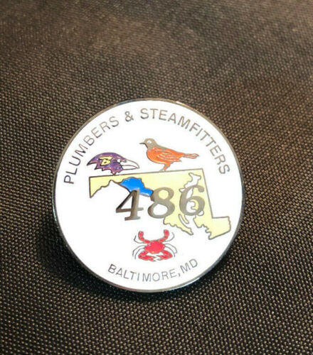 RARE Lapel Pin Plumbers & Steamfitters Local Union 486 Baltimore MD