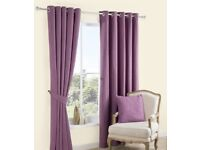B&Q Carina Blueberry and purple plain woven curtains