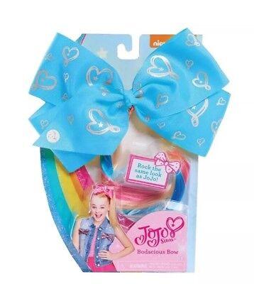Dance Moms JoJo Siwa Bodacious Bow Blue Hearts RAINBOW HAIR EXTENSION Costume