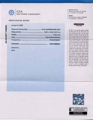 JUST BEAUTIFUL GIA REPORT 12489859 NATURAL BROWN CHRYSOBERYL 13.54carat