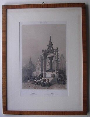 Mainz 1850, Marktplatz, gerahmtes Litho, Biedermeier