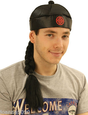 Adult Mens Black Chinaman China Chinese Fancy Dress Costume Hat with Pigtail Wig - Chinese Hat With Pigtail