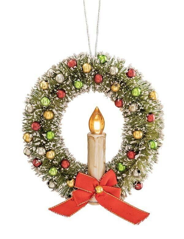 Victorian Trading Co Vintage Bottle Brush Illuminated Christmas Wreath Ornament