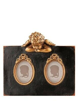 Double Photo Frame (Victorian Trading Co Black Gilded Guardian Angel Double Picture Photo)
